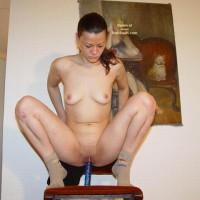 Horny Sarah Sitting On A Dildo