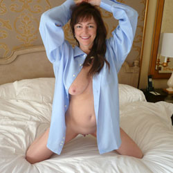Men's Dress Shirts - Big Tits, Brunette Hair, Shaved , Our First Contri... I Asked Her To Put On Some Dress Shirts And Pose, She Enjoyed It... She Is A Little Nervous About What Others Might Have To Say...