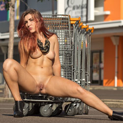 Sophie Goes Shopping - Big Tits, Exposed In Public, Heels, Nude In Public, Redhead, Shaved , Redclouds Version Of Our Fun In The Car Park