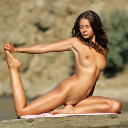 Nude Yoga - Beach, Big Tits, Brunette, Shaved