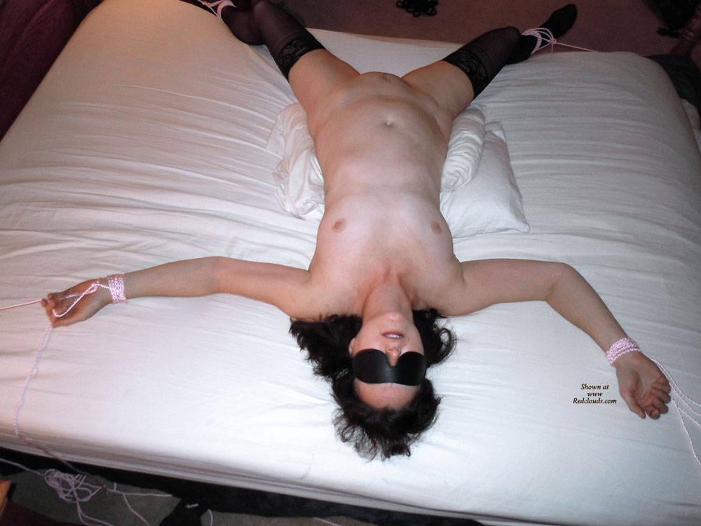 Tied spread eagle bed amateur