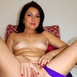 Anna (38) Relaxing In Purple Gown - Brunette, Big Tits, Amateur, Close-Ups