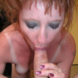 Redhead bush blowjob