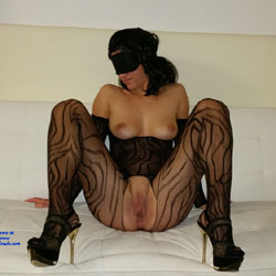 Blindfolded - Brunette Hair, Heels, See Through, Shaved, Sexy Lingerie , Nude, Fishnet Bodysuit, Bondage,natural Tits, Shaved Pussy, Firm Ass