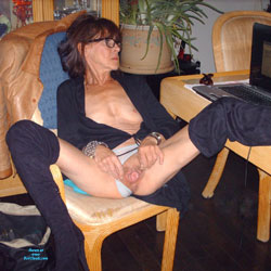 Just Wide Open - Brunette, Mature, Amateur, Legs Spread Wide Open