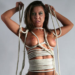 Wrapped In Rope - Brunette Hair, Naked Girl , Bondage, Big Tits, Hairy Pussy