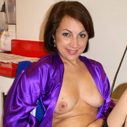 Anna (39) Blue Gown - Brunette, Close-ups, Amateur