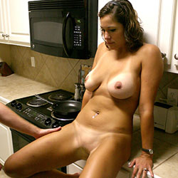 Countertop Spread - Nude Girls, Big Tits, Brunette, Girl On Guy, Penetration Or Hardcore, Shaved, Pussy Fucking, Amateur