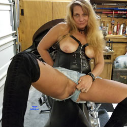 Chained To Harley And Ball Gagged! - Big Tits, Shaved, Amateur