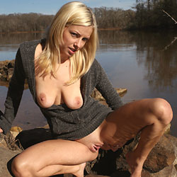 River Rocks - Big Tits, Blonde, Outdoors, Shaved, Amateur, Legs Spread Wide Open
